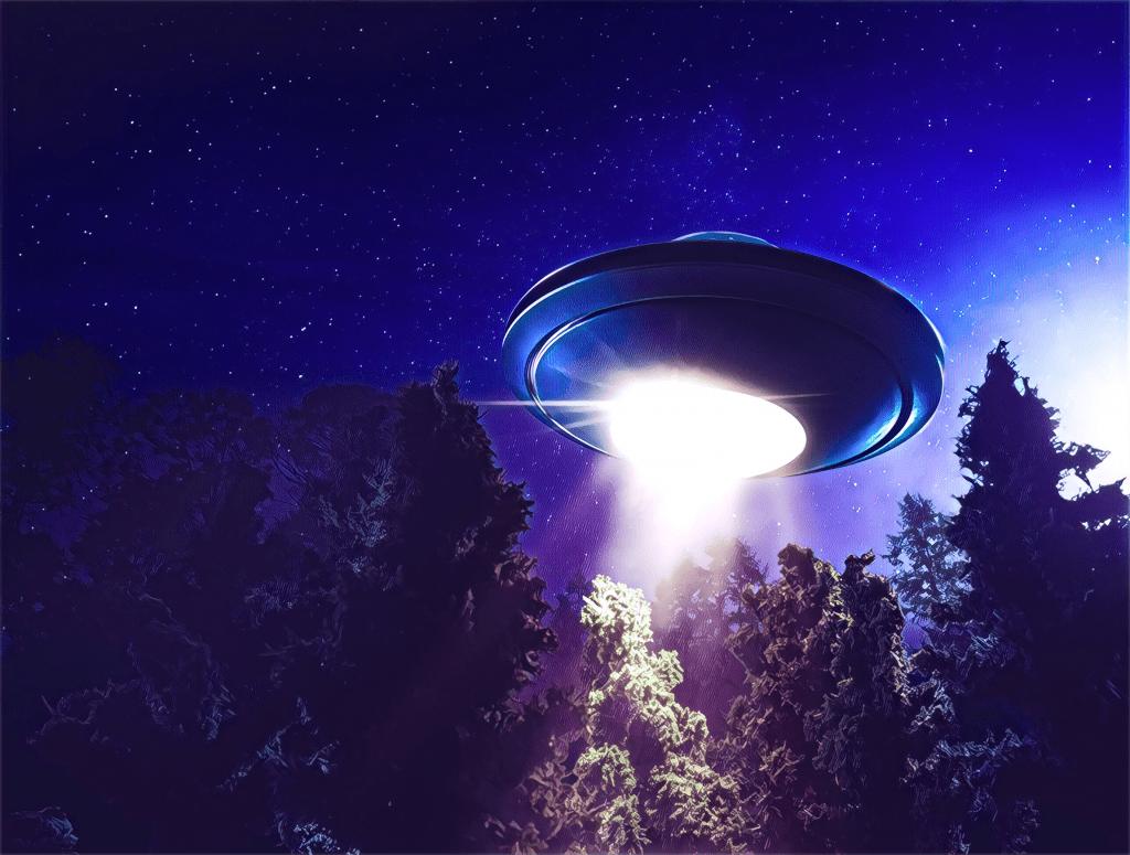 über dem Wald schwebendes UFO, Licht nach unten, Nachthimmel mit Sternen
